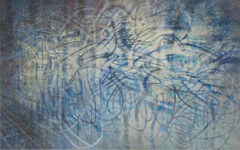 Gleam: Looming Signs # 01 // Scribble, 2008,Acryl auf Leinwand,180 x 290 cm