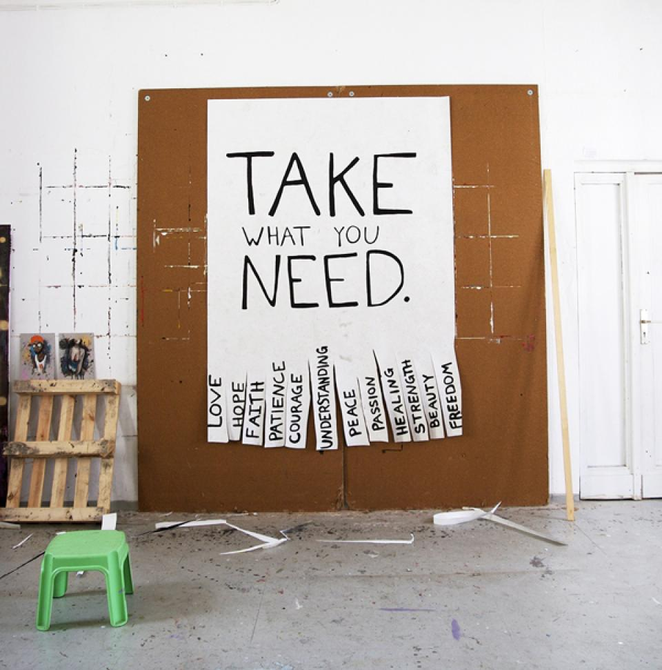 Take the Lot, 2012,oil on paper,200 x 150 cm