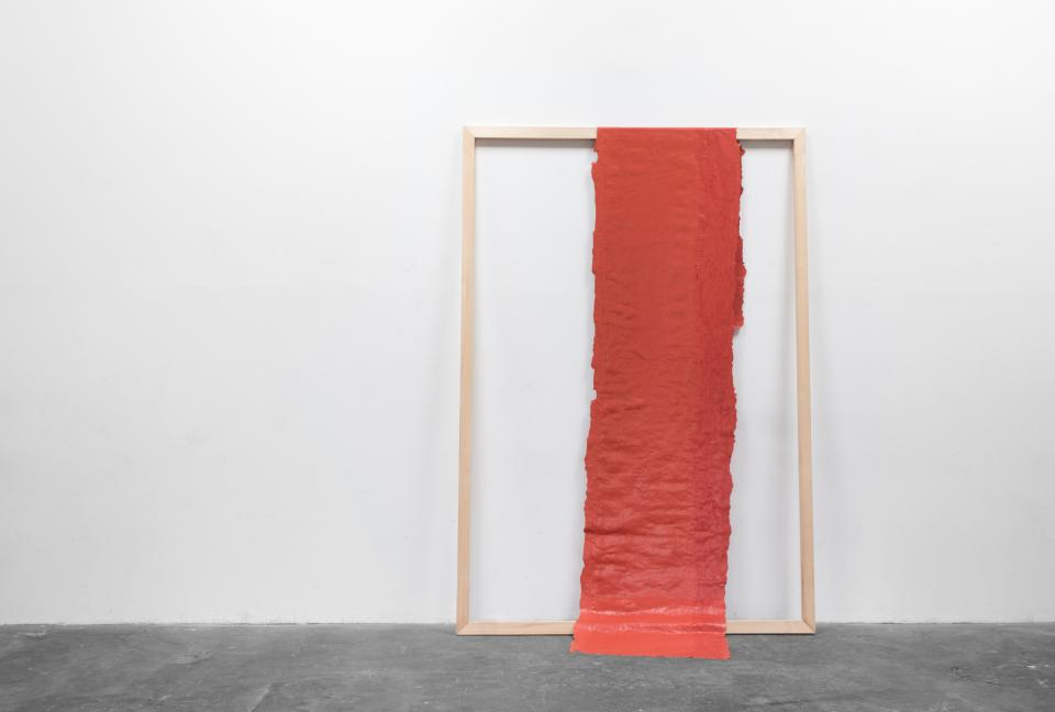 no title (290214), 2014,acrylic paint, wooden strip,300 x 210 cm