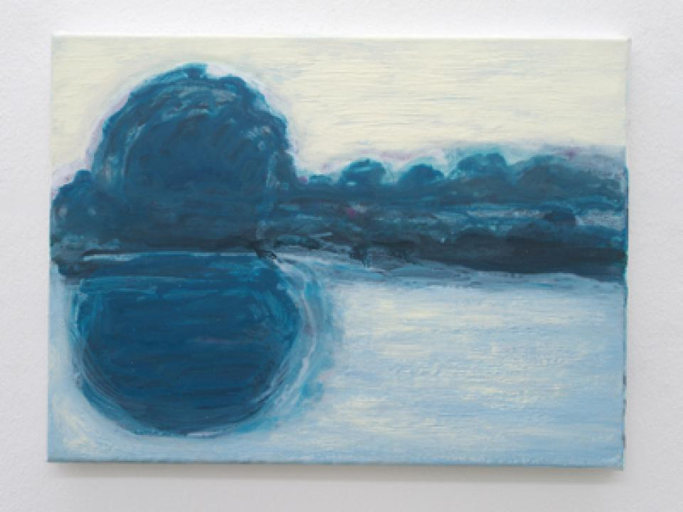 Landschaft/Malerei  Landschaft, blau, 2009,acrylic/oil on canvas,30 x 40 cm